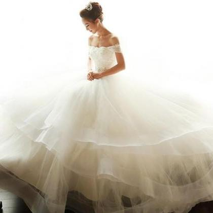 Tiered Skirts Appliques Wedding Dre..