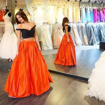 Black And Orange Prom Dresses Two Pieces Floor-Length Sweetheart Evening Wear Dress Piping Fashion New Backless Party Formal Cocktail Gown