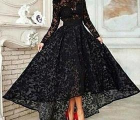 Sexy Black Lace High Low Prom Dresses with Long Sleeves Hi-lo Evening Formal Pageant dress Gowns See Through Evening Gowns 2016 Cheap