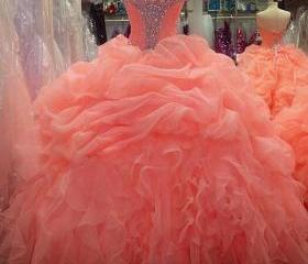 Prom Dresses Coral , Long , Sweetheart , Ball Gowns Prom dresses , Sweet 15 Party Dresses , Quinceanera Dresses 2016 , Cheap Prom dresses , New Style