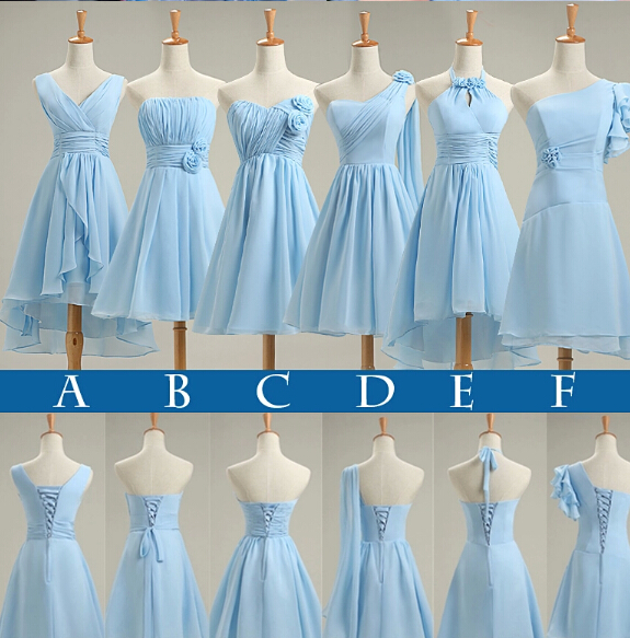 Light sky blue bridesmaid dresses new short 2016 pleated for Summer dresses for wedding party