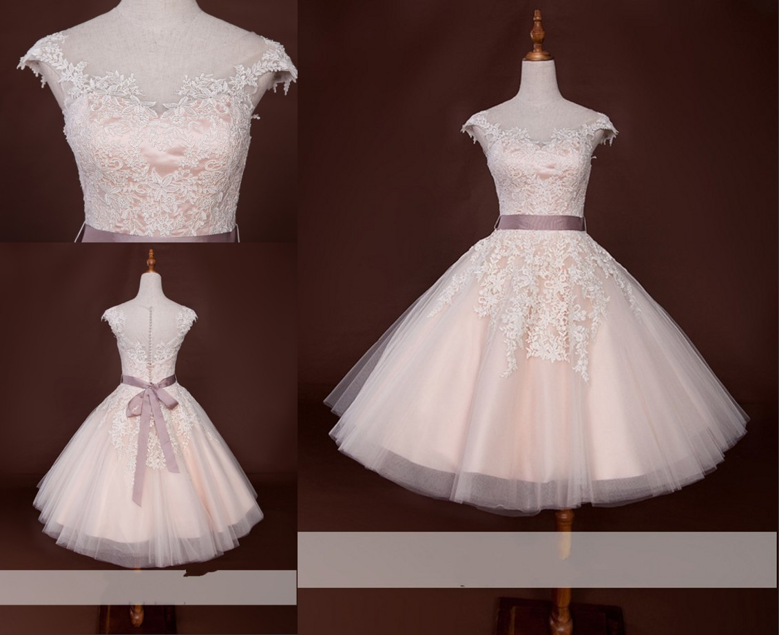 Blush Wedding Dresses Fashion Style New With Capped Short