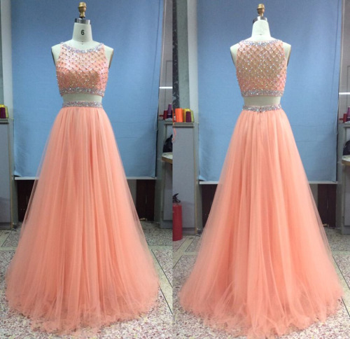 Amazing 2016 Peach A line Two Pieces Prom Dresses Rhinestones Crystal ...