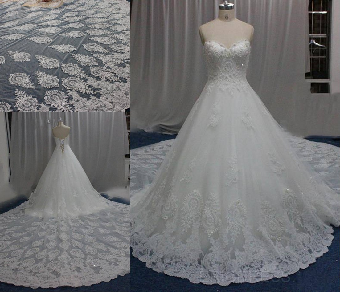 Royal Designer Wedding Dresses Luxury Big Train Lace