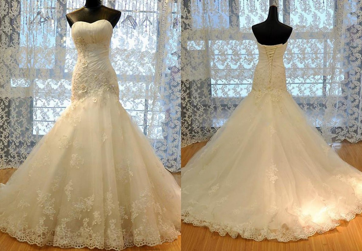 Luxury Mermaid Wedding Dresses 2016 Sweetheart Lace