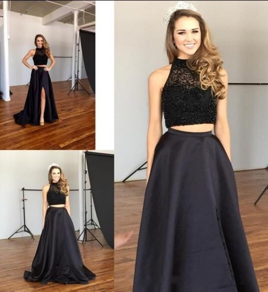 Two Pieces High Neck Evening Dresses 2016 Black Beaded Evening ...