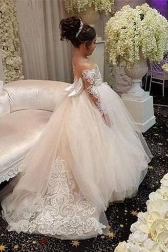 2018 Chic Lace Flower Girl Dresses For Wedding Sheer Long Sleeve Hollow Back Applique Bows Wedding Party Dress For Little Girls