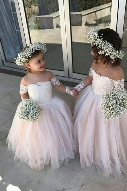 Blush Pink off Shoulder Flower Girl Dresses 2018 Illusion Long Sleeve Lace Applique Ball Gown Tulle Flower Girls Dress For Wedding