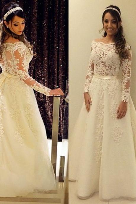 2018 A-line Wedding Dresses With Sleeves Illusion Off The Shoulder Lace Applique Beads Bow Bridal Dresses Wedding Gowns