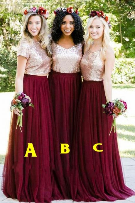 2018 Fashionable Sequined Tulle Bridesmaids Dresses Halter Open Back A-line Prom Dresses Cheap Wedding Dresses Gowns Custom Made