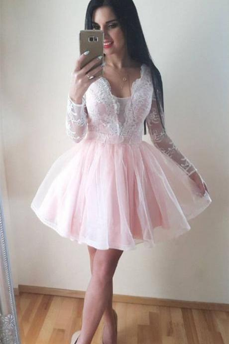 Pink Homecoming Dresses,Long Sleeve Homecoming Dresses,V-neck Homecoming Dress,Ball Gown Homecoming Dress,Short Prom Dress