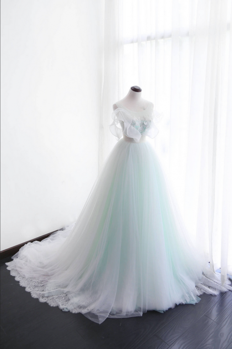Mint Green Wedding Dresses,Lace Wedding Dresses ,Wedding Dresses Ball Gowns,Piping Pearls Bridal Dresses