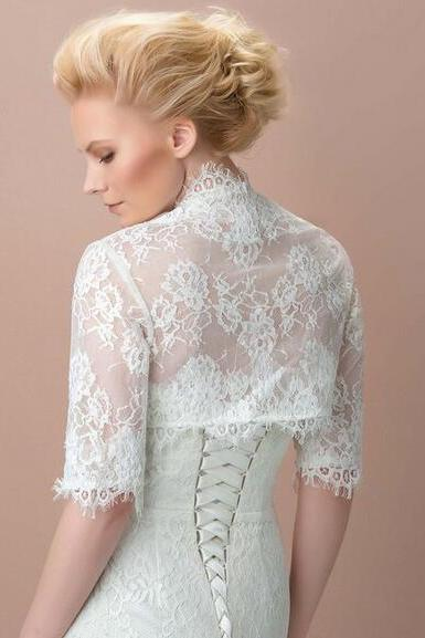 Lace Wedding Jackets,1/2 Long Sleeve Jackets For Wedding ,Evening ,Prom ,Party Dresses