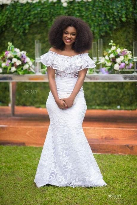 Plus Size African Wedding Dresses,Off The Shoulder Wedding Dress,Mermaid Wedding Dresses,Lace Dresses,Lace Bridal Dress