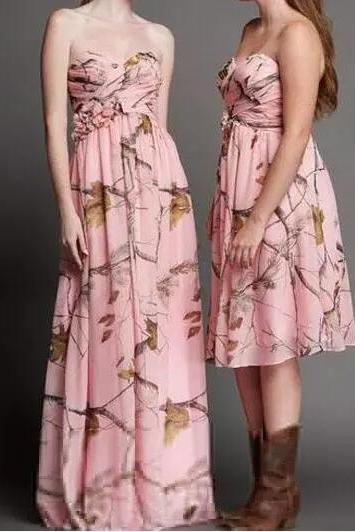 Camo Bridesmaid Dresses,Pink Country Bridesmaid Dress,Strapless Bridesmaids Dresses