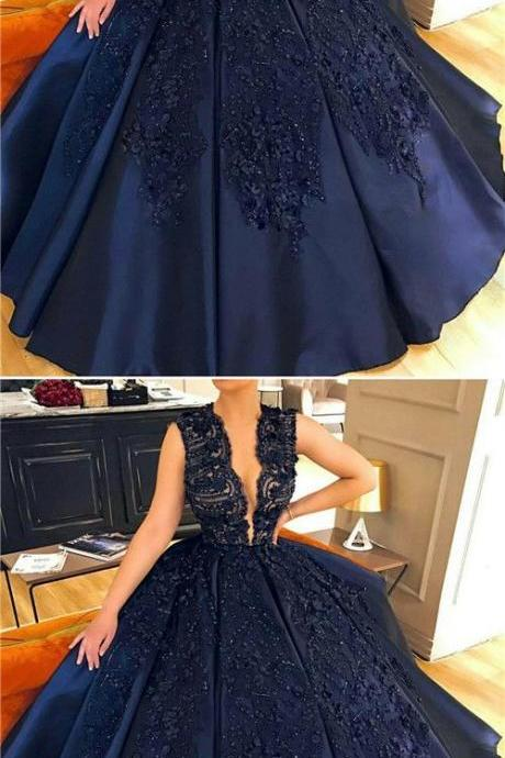 Lace Appliques Evening Dresses Plus Size,Navy Blue Evening Dress,Ball Gowns Prom Dress,Cap Sleeve Prom Dress