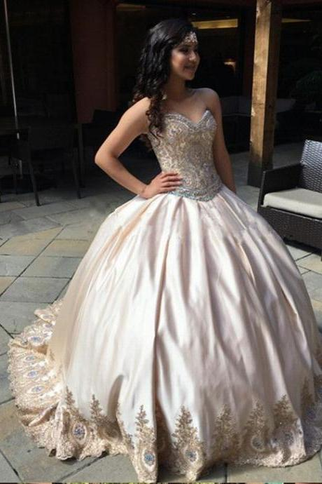 Champagne Prom Dresses Ball Gowns, Gold Applique Prom Dress 8th Grade,Strapless Backless Quinceanera Dresses,Crystals Graduation Dress
