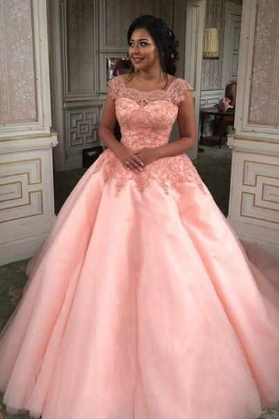 Pink Wedding Dresses,Ball Gown Wedding Dresses,Square Short Dress Wedding Dress,Lace Prom Dresses