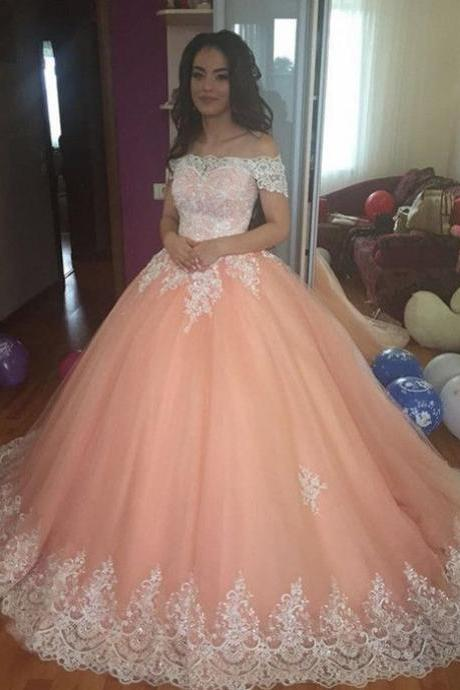 Off The Shoulder Formal Dresses Prom Dress,White Lace Pink Tulle Prom Dresses,Backless Prom Dress,Ball Gowns Prom,Long Evening Dresses