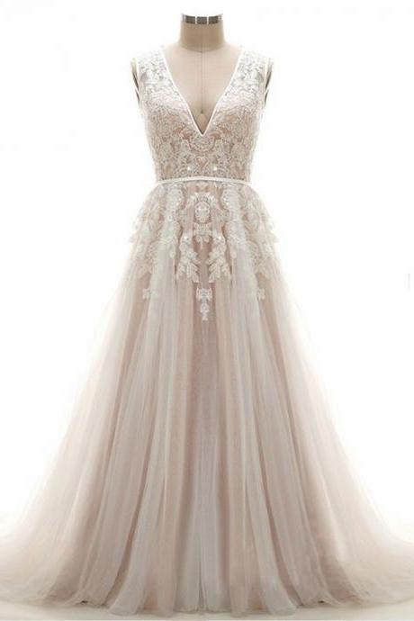 A-line Wedding Dresses,V-neck Wedding Dresses,Lace Wedding Gowns,Empire Waist Bridal Dress