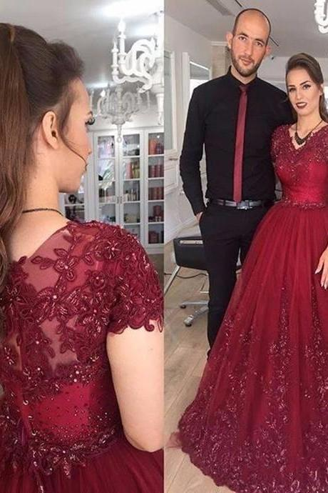 Burgundy Wedding Dresses,Short Sleeve V-neck Wedding Dress,A-line Bridal Dresses,Wedding Dresses Empire Waist,Lace Applique Wedding Dress