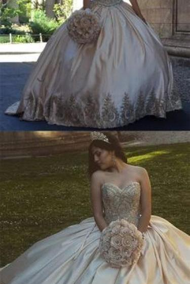 Gold Applique Quinceanera Dresses,Strapless Quinceanera Dress,Ball Gowns Prom Dresses,Champagne Grade Dresses 8th Grade