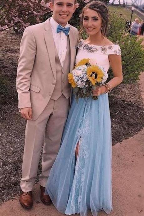 White And Blue Prom Dresses,Two Piece Prom Dress,Crystal Beaded Formal Dress,Side Split Party Dress,Empire Waist Evening Gowns Prom Dresses