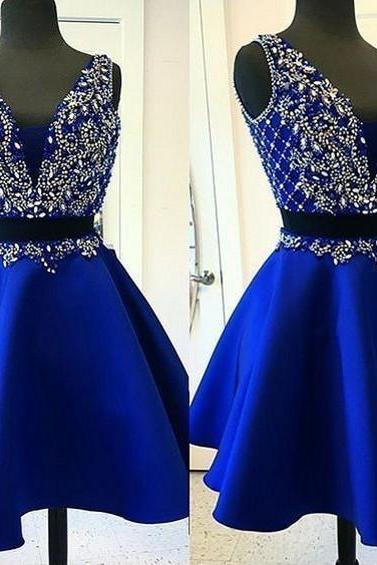 A-line Homecoming Dresses,Two Pieces Homecoming Dress,Crystal Homecoming Dress,Backless Short Prom Dresses