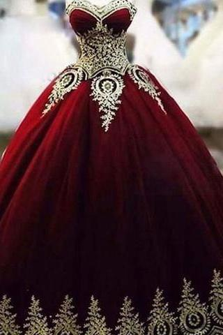 Burgundy And Gold Wedding Dresses,African Women Wedding Dresses,Strapless Wedding Gowns,Applique Bridal Dress