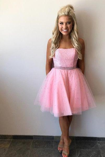 Pink Homecoming Dresses,Strapless Cheap Homecoming Dresses,Crystal Short Homecoming Dresses,Short Prom Dresses