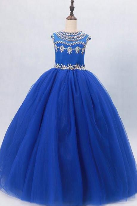 Royal Blue Pageant Dresses Girls,Beaded Crystal Kids Pageant Dresses,Ball Gowns Pageant Dresses For Little Girls,Flower Girl Dresses Tulle
