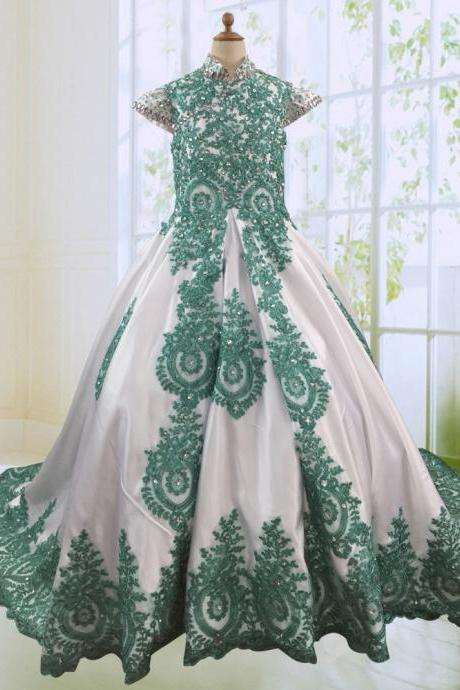 Green Applique Special Occasion Dresses Girls,Beaded Crystal Party Dresses Kids,High Neck Flower Girl Dresses