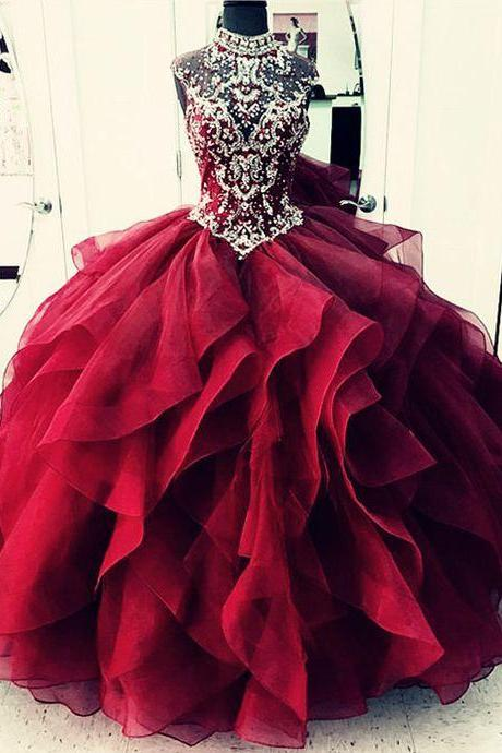 High Neck Prom Dresses,Ball Gowns Quinceanera Dresses,Layered Quinceanera Dress,Beaded Crystal Graduation Dresses,Organza Prom Dresses Ball Gown