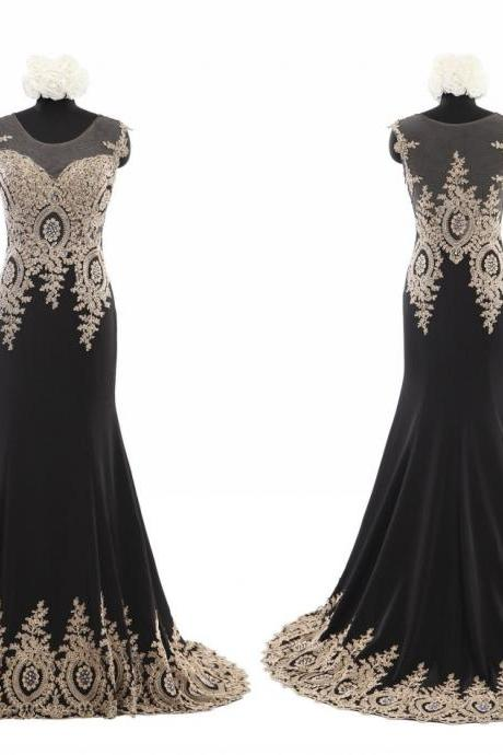 Sexy Black Chiffon with Gold Lace Prom dresses 2016 Short Sleeves Mermaid Evening Dresses Long Cheap Modern Fashion Formal Pageant Dress Gown