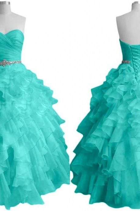 Aqua Ruffles Ball Gown Quinceanera Dress 2018 Cheap Long Sweetheart Evening Prom Dresses Gowns Formal Pageant Dress Graduation Dress