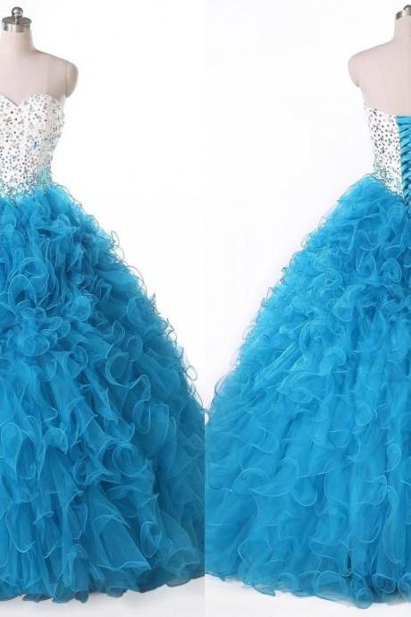 2018 White Blue Ball Gowns Quinceanera Dresses With Rhinestones Crystal Tulle Ruffles Long Prom Dresses Evening Formal Dress Gowns For Party Gowns