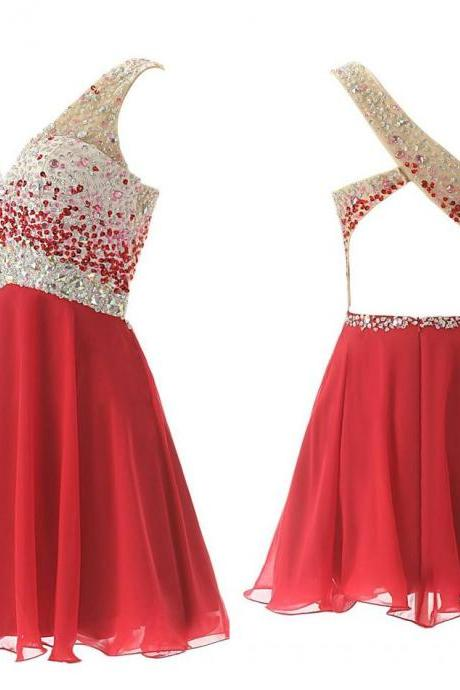 Cute Red One shoulder Backless Homecoming Dresses 2016 with Crystals Short Mini Prom party Dress gown Custom Actual Image Cheap