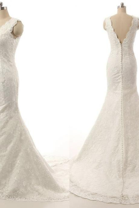 Simple Lace Wedding Bridal Dresses 2016 Sheer Straps Mermaid V neck Back Long Cheap Wedding Gowns Bridal Dress Gown Custom