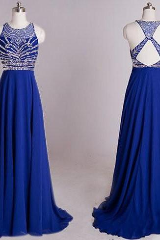 Fashion Royal Blue Prom Dresses Backless Criss Cross Designer Sheer Jewel Neck With Crystal Sequin Prom Dress Formal Dress Evening Gowns Long Cheap 2017