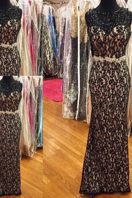 Sexy Black Lace Nude Satin Sheer Neck Prom Dresses 2017 Sequin Beaded Sheath Designer Formal Dresses Evening Dresses Prom Party pageant Gowns Custom Long Cheap