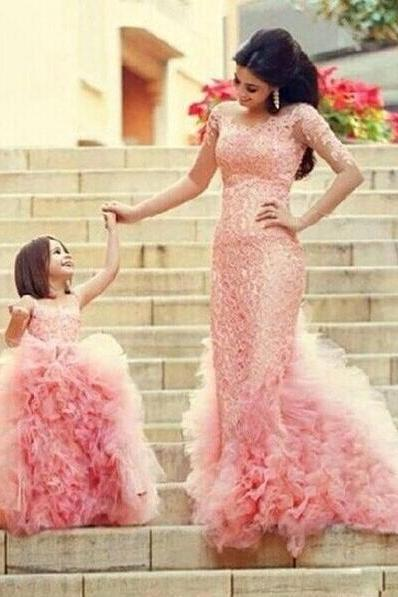 Blush Ball Gown Lace Flower Girls Dresses Cheap Tulle Sheer Neck Girls Pageant Dresses Long New 2018 Flower Girl Dress