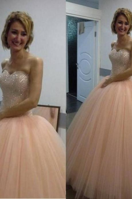 2016 New Stunning Peach Prom Dresses Ball Gown For Sweet 16 Girls Quinceanera Dresses Evening Dresses Party Dresses Tulle Sweetheart Crystals Bodice Pageant Dresses Cheap