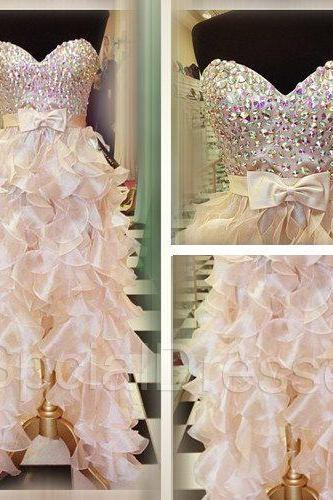 Amazing Ruffles Prom Dresses Pleated Sweetheart Organza Crystal Bling Rhinestones Long Evening Dresses Formal Gowns A line Prom Dresses Cheap