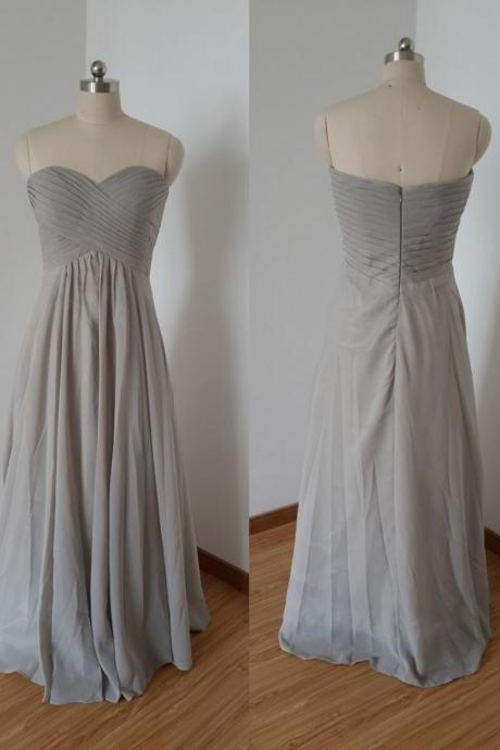 Modest Sliver Chiffon Bridesmaid Dresses Empire Bridesmaid Dress Sweetheart zipper Back Pleated Prom Dresses Evening Dress Formal Gowns For Bridesmaid