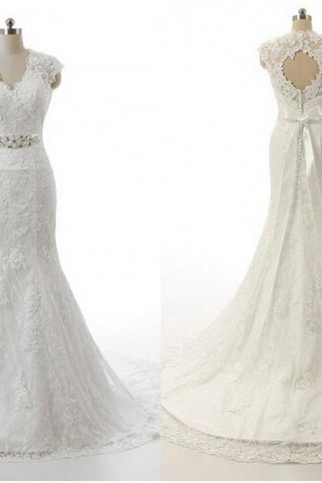 V-Neck Sleeveless Lace Mermaid Wedding Dress Featuring Cutout Back Detail