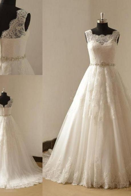 Fashion Sheer Neckline Wedding Dresses Real Photo Tulle Applique Court Train Pleated Rhinestones Beaded Wedding Dress Bridal Gowns Cheap New