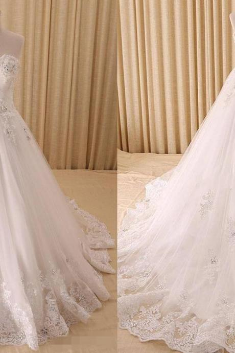 Elegant Designer Wedding Dresses Real Photo Sweetheart Tulle Pleated Applique Lace Court Train Wedding Dress Gowns Custom Cheap Bridal Dresses