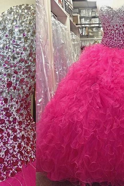 Hot Pink Quinceanera Dresses , Sweet 16 Party Dresses , Ball Gown Prom Dresses , Crystals , Rhinestones , Sweetheart , Tulle Ball Gowns Dresses , Long Prom Dresses , Prom Dress Cheap , New Prom Dresses , Prom Dress 2017 , Evening Dresses