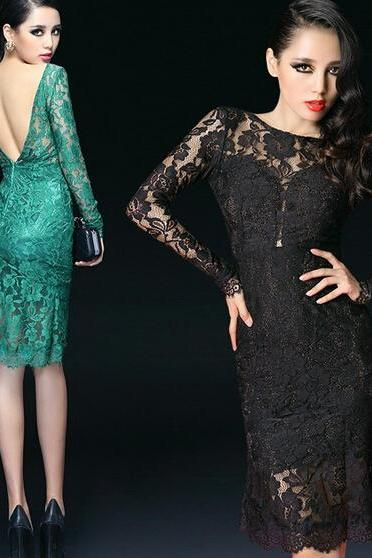 Short Cocktail Dresses,Lace Cocktail Dress, Green Cocktail Dress,Backless,Sheath Prom Dress ,Long Sleeve,Scoop Collar