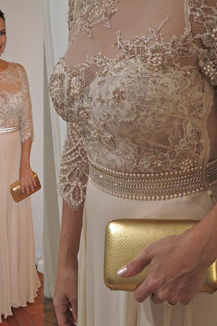 Beaded Prom dresses , Champagne Evening Dresses , Piping Prom Dress , Sheath Prom Dresses , Prom Dress Long Cheap , Prom Dress 2017 , Formal Dresses Appliques, Lace Prom Dress , Prom Dress Fashion,Pearls